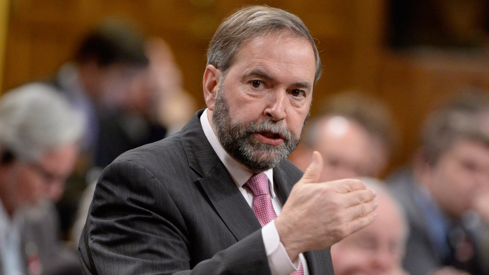 NDP Leader Tom Mulcair asks a question during Question Period in the House of Commons on Parliament Hill in Ottawa, Wednesday Nov. 27, 2013. (Adrian Wyld / THE CANADIAN PRESS)