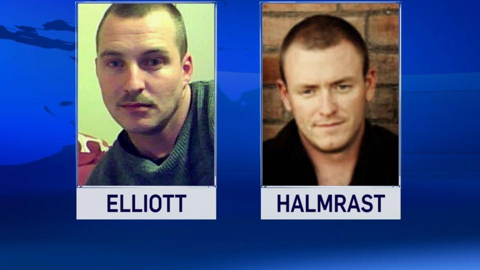 Master Cpl. William Elliott and soldier Travis Halmrast are seen in this undated image.