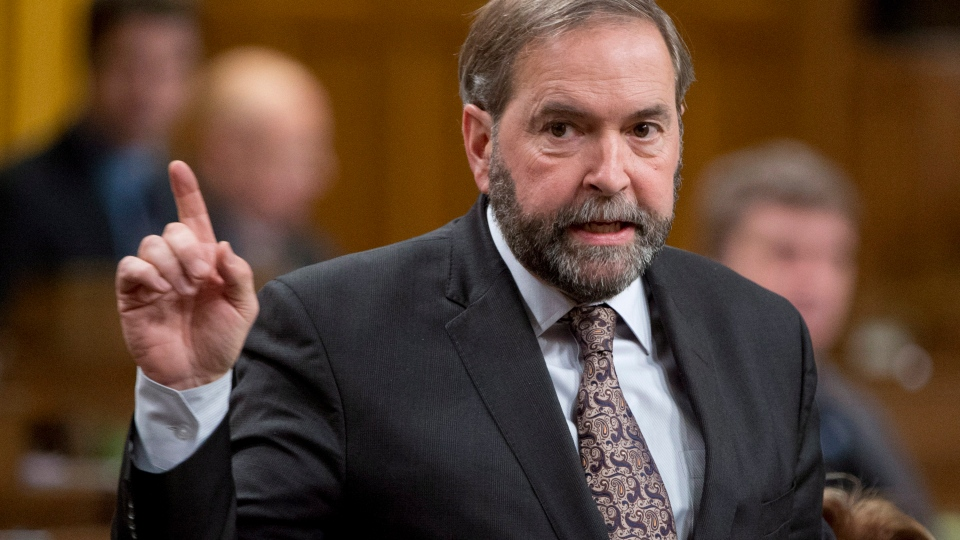 NDP leader Tom Mulcair rises during question period in the House of Commons Thursday November 28, 2013 in Ottawa. (Adrian Wyld / THE CANADIAN PRESS)