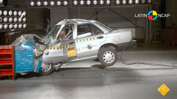A Nissan Tsuru with no airbags is crash-tested