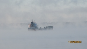 A Ship making its way through the Fog this morning on The St. Lawrence River (Laura Burns/MyNews)