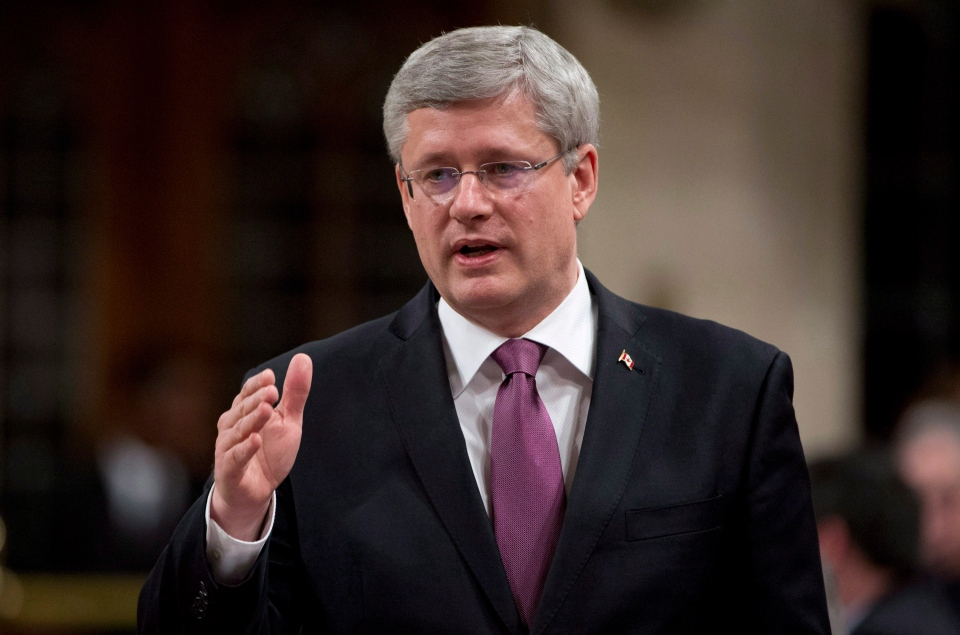 Prime Minister Stephen Harper responds to a question during Question Period in the House of Commons in Ottawa on Nov. 27, 2013 . (CP / Adrian Wyld)
