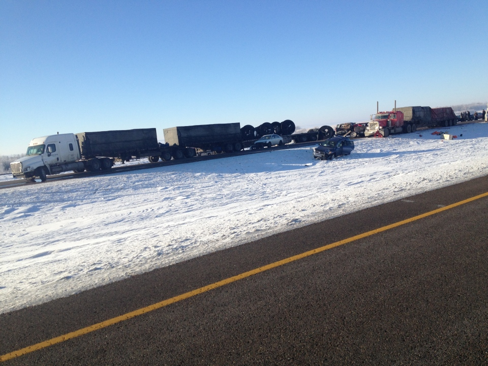 A crash involving six semi-trucks and over 20 vehicles injured 40 people and sent 13 to hospital Saturday morning. (photo supplied by Dustin Carrier)