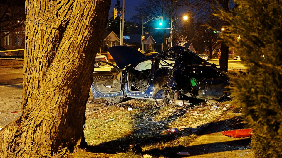 A Toronto police officer was rushed to hospital after a car crash in the city's west end, Saturday, Nov. 30, 2013. (CTV Toronto / Tom Podolec)