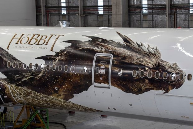 Hobbit image on New Zealand airline