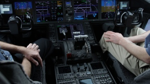 The cockpit of Boeing's new 787 Dreamliner is photographed in Houston on Feb. 3, 2011. (AP /Pat Sullivan)