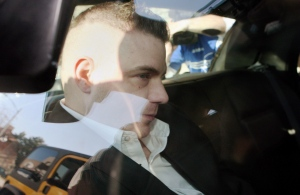 Michael Rafferty is transported from the courthouse in the back of police cruiser in London, Ont., on March, 14, 2012.  THE CANADIAN PRESS/Dave Chidley