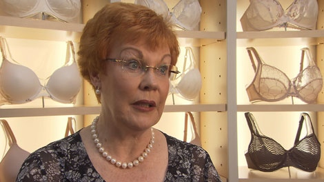 Diane Thompson of Diane's Lingerie says up to 90 percent of women wear the wrong sized bra, leading to cosmetic and health concerns. July 27, 2011. (CTV)