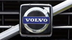 The Volvo logo on the front grille is shown in Miami, Tuesday, July 21, 2009. (AP / Alan Diaz)