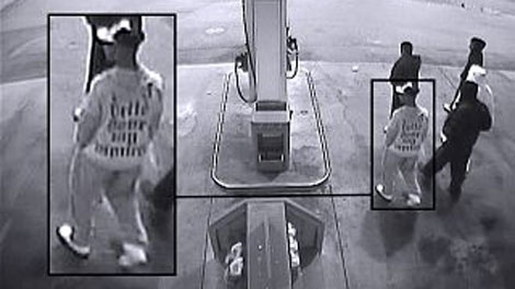 Surveillance footage shows suspects in the murder of Devon Allaire-Bell outside Frank Hurt Secondary School on April 24, 2011. (CTV)