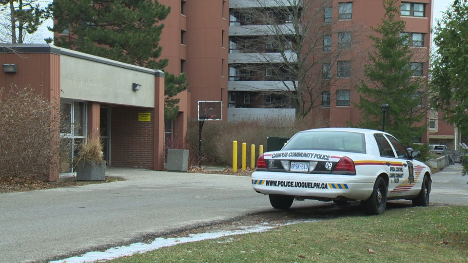 A University of Guelph campus police cruiser sits outside the school's Dundas Hall residence on Monday, Dec. 2, 2013.