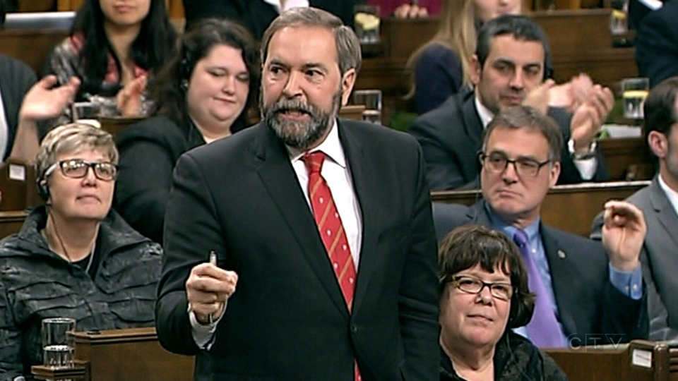 NDP Leader Tom Mulcair asks a question during question period in the House of Commons on Monday, Dec. 2, 2013.