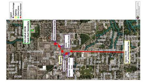 A map shows the path of suspects in the murder of Devon Allaire-Bell as they headed toward Frank Hurt Secondary School on April 24, 2011. (Handout)