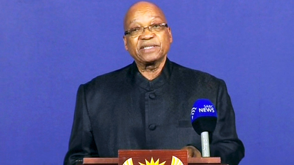 President of South Africa Jacob Zuma announces the death of former South African President Nelson Mandela to the media, from a podium in Pretoria, South Africa, Thursday Dec. 5, 2013. (SABC)