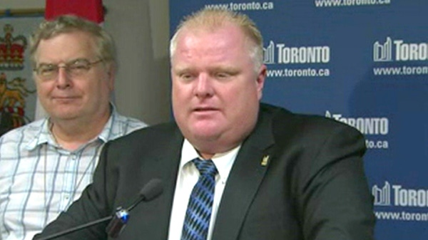 Toronto Mayor Rob Ford speaks to reporters in Toronto on Thursday, July 29, 2011.