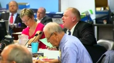 Mayor Rob Ford listens to a speaker at public hearings at Toronto City Hall on Friday, July 29, 2011.