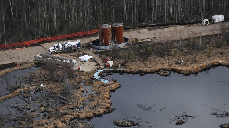 Aerial photos of the cleanup of the Rainbow pipeline break northeast of Peace River, Alta. on May 4, 2011. (THE CANADIAN PRESS/ Ian Jackson)