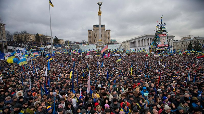 Pro-European Union activists gather during a rally in the Independence Square in Kyiv, Ukraine, Sunday, Dec. 8, 2013. (AP / Alexander Zemlianichenko)