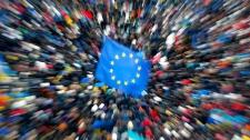 EU flag in Independence Square, Kyiv, Ukraine