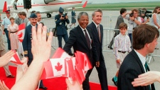 Mandela with Mulroney in Ottawa, June, 1990