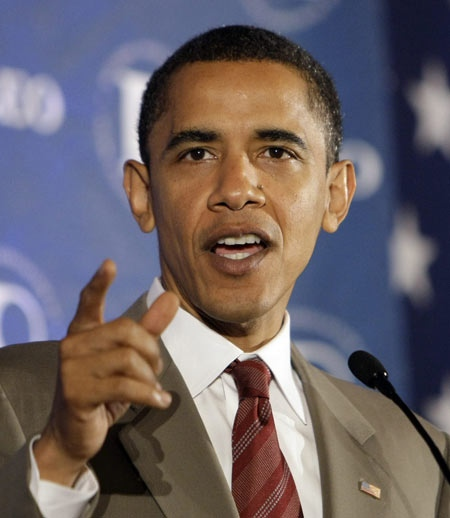 Democratic presidential candidate, Sen. Barack Obama, D-Ill., speaks at the National Association of Latino Elected and Appointed Officials in Washington Saturday, June 28, 2008. (AP Photo / Alex Brandon)