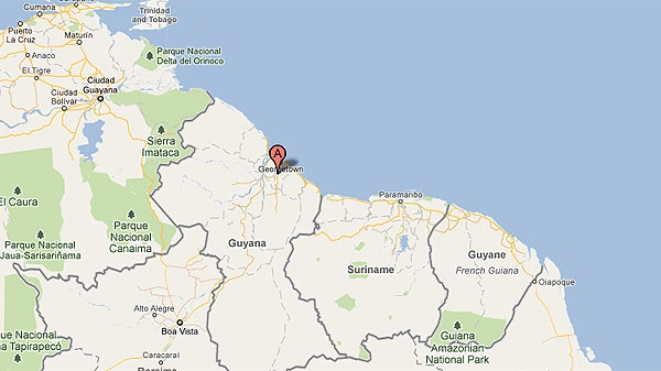 A red marker shows the location of Cheddi Jagan International Airport, where a Caribbean Airlines plane crashed early Saturday. (Photo: Google Maps)