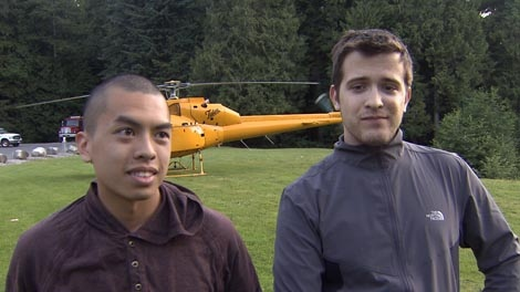 Wesley Jai and Daniel Jeffrey were rescued by North Shore Search and Rescue after getting stranded while hiking out of bounds near Grouse Mountain on Saturday, July 30, 2011. (CTV)