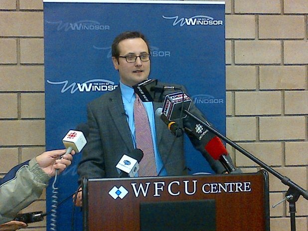 Irek Kusmierczyk gives a speech after winning Windsor's Ward 7 byelection Monday night, Dec. 9. (City of Windsor)