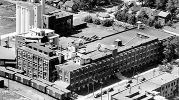 The Kellogg's plant in London, Ont. is seen in the 1940s.