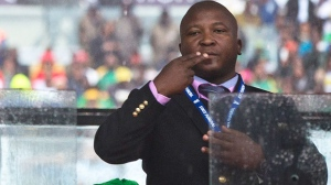 A sign language interpreter during a memorial service at FNB Stadium in honor of Nelson Mandela in Soweto, near Johannesburg on Tuesday, Dec. 10, 2013. (AP / Evan Vucci)
