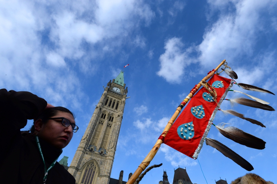 Assembly of First Nations Youth Council member Clayton Tootoosis takes part in a Assembly of First Nations rally on Parliament Hill in Ottawa on Tuesday, Dec. 10, 2013. (Sean Kilpatrick / THE CANADIAN PRESS)