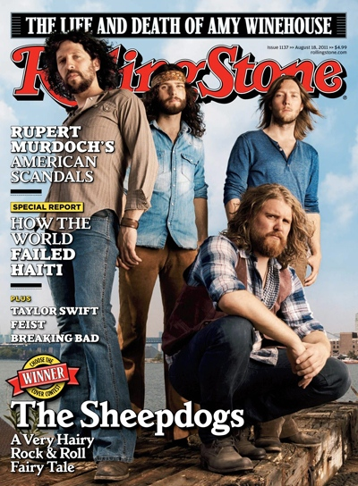 In this magazine cover image released by Rolling Stone, the lover of 'Rolling Stone' magazine, featuring The Sheepdogs are shown.