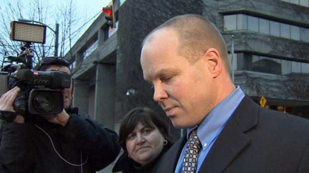 Former Mountie Derek Brassington is seen outside Vancouver provincial court on Wednesday, Dec. 11, 2013. (CTV)