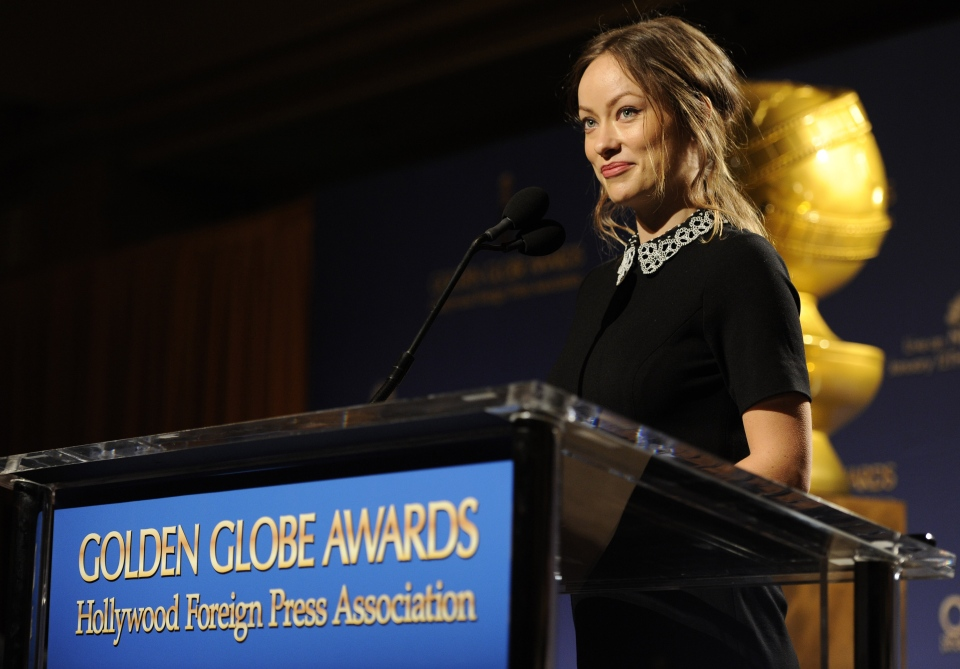 Olivia Wilde announces nominations for the 71st Annual Golden Globe Awards on Thursday, Dec. 12, 2013 in Beverly Hills, Calif. (Chris Pizzello / Invision)