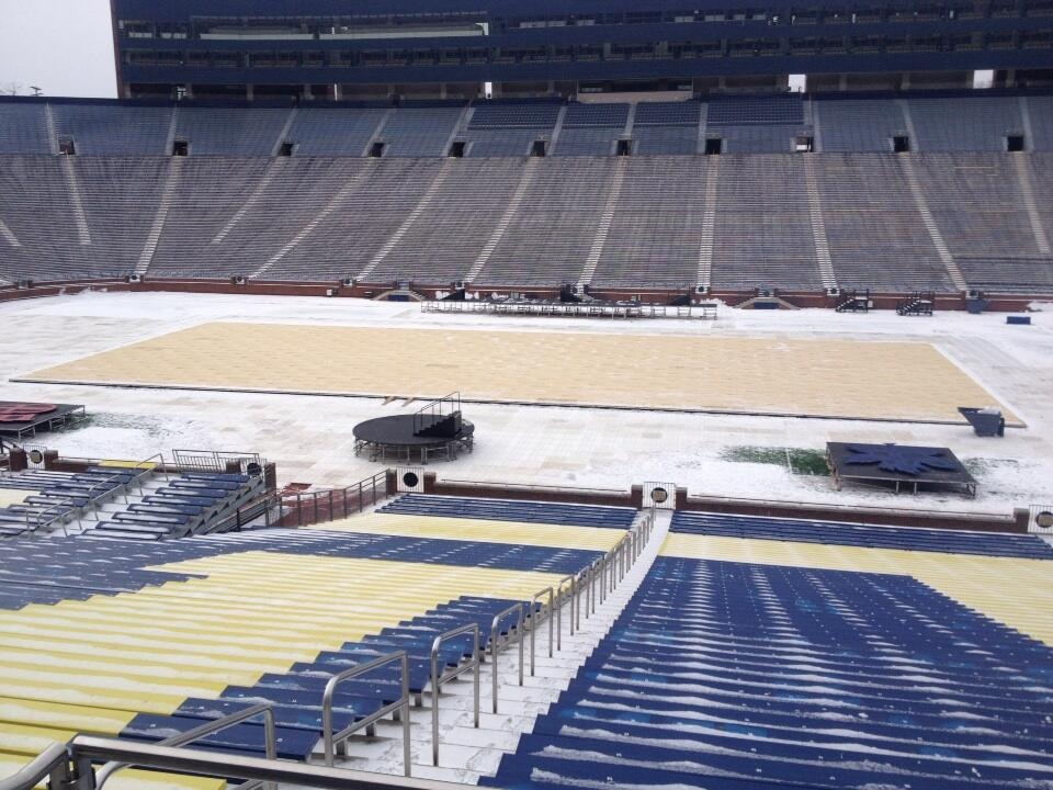 Preparation on the ice for the Winter Classic started Thursday, Dec. 12 at Michigan Stadium in Ann Arbor, Mi. (Rich Garton/ CTV Windsor)