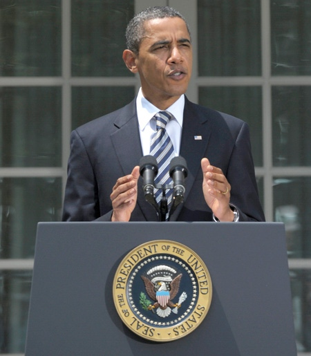 U.S. President Barack Obama delivers a statement in the Rose Garden of the White House in Washington, Tuesday, Aug. 2, 2011. (AP / Susan Walsh)