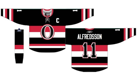 "The 20th anniversary jersey for the Senators will feature the team's original ""O"" logo and barber pole motif."