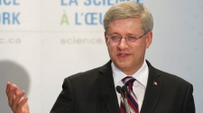 Prime Minister Stephen Harper speaks at McMaster University in Hamilton, Ont., on Wednesday, August 3, 2011. (Nathan Denette / THE CANADIAN PRESS)