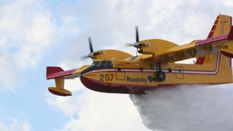The province sent a helicopter and two waterbombers to extinguish the fire in the Nutimik Lake Campground area on Monday before campers were allowed back in (file image, courtesty of Manitoba Conservation).