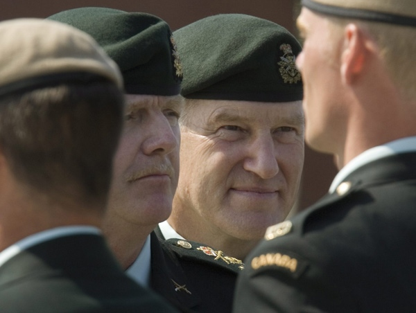 Former Chief of Defence Staff Gen. Rick Hillier (left) and the new Chief of Defence Staff Gen. Walt Natynczyk review the Honour Guard at a change of Command ceremony in Ottawa on Wednesday, July 2, 2008. (Tom Hanson / THE CANADIAN PRESS)