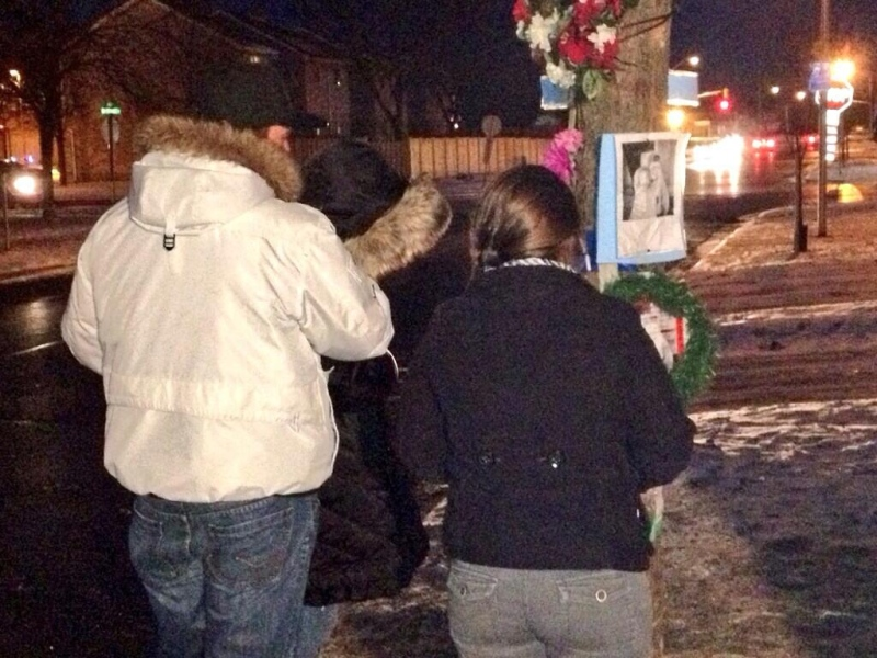 Family of Jaden Swanson arrive for a vigil at Admiral and Bonaventure Drives in London, Ont. on Thursday, Dec. 12, 2013. (Jim Knight / CTV London)