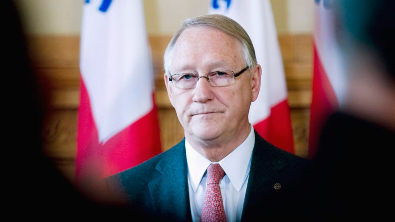 Montreal mayor Gerald Tremblay speaks at a press conference in Montreal, Monday, April 11, 2011, (Graham Hughes / THE CANADIAN PRESS)