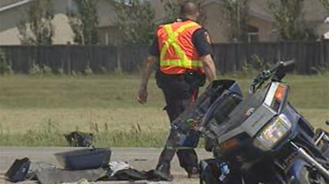 Police investigate the crash near Lagimodiere and Fermor on Wednesday afternoon.