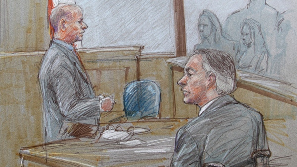 In this courtroom sketch, lead prosecutor Eric Nichols, left, and Texas State Attorney General Greg Abbott, front, are shown during closing arguments in the sexual assault trial against Polygamist Religious Leader Warren Jeffs at the Tom Green County Courthouse in San Angelo, Texas, Thursday, Aug. 4, 2011. (AP / Brigitte Woosley)