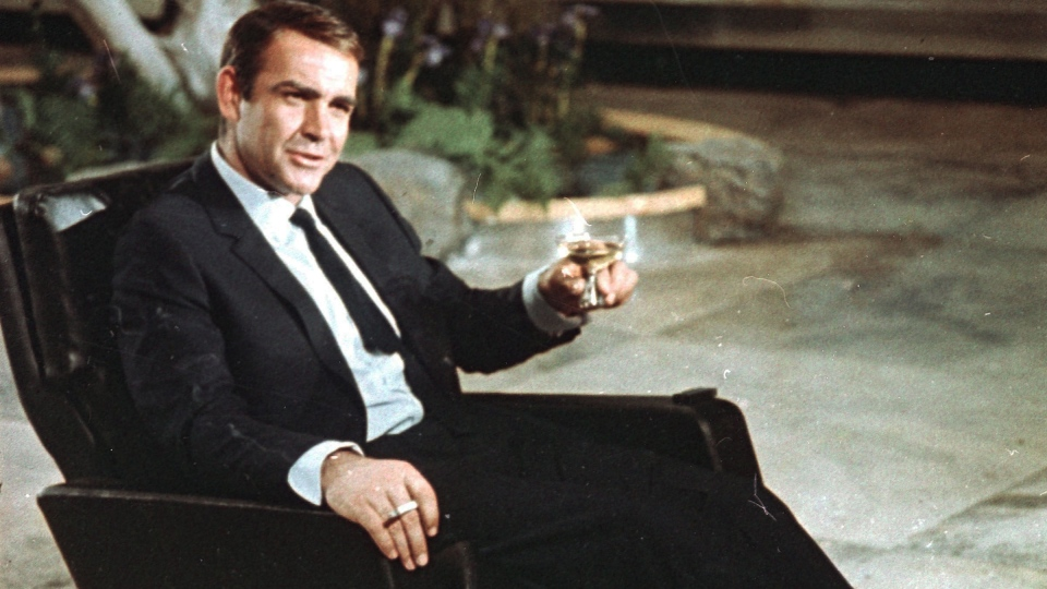 James Bond drinks a martini
