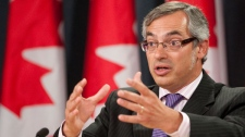 President of the Treasury Board and Minister for the Federal Economic Development Initiative for Northern Ontario Tony Clement responds to questions during a news conference in Ottawa, Thursday August 4, 2011. (Adrian Wyld / THE CANADIAN PRESS)
