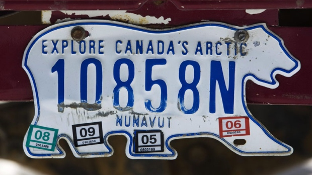 A photograph of a Nunavut licence plate in the city of Iqaluit in the Nunavut Territory of Canada on March 29, 2009. (THE CANADIAN PRESS/Nathan Denette)