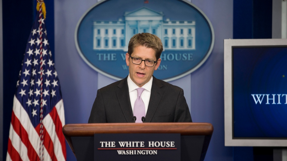 White House press secretary Jay Carney speaks during the daily press briefing at the White House in Washington, Friday, Dec. 13, 2013. (AP /  Evan Vucci)