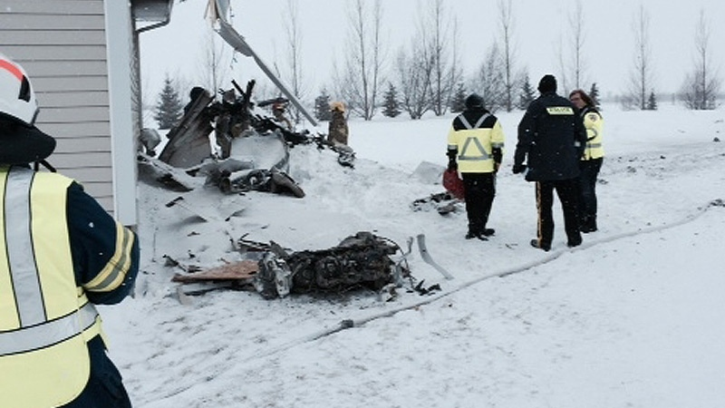 RCMP on the scene of a plane crash north of Lloydminster Saturday, December 14. Courtesy: Newcap News