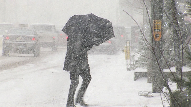 Some people brave the snowy weather conditions in Toronto on Saturday, Dec. 14, 2013.